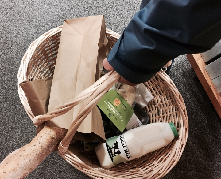 Full shopping basket at Tebay Services, Cumbria, England.