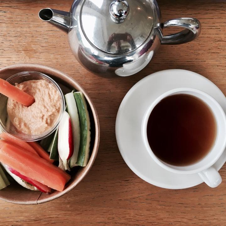 Crudites and tea at the Tebay Services, Cumbria, England.