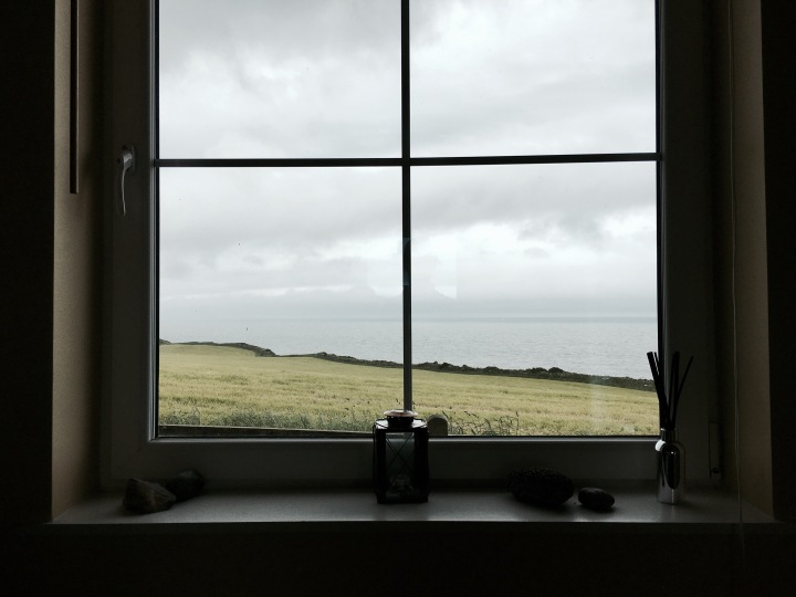 Looking towards Solway Firth at The Lookout near Dundrennan, Dumfries and Galloway, Scotland.
