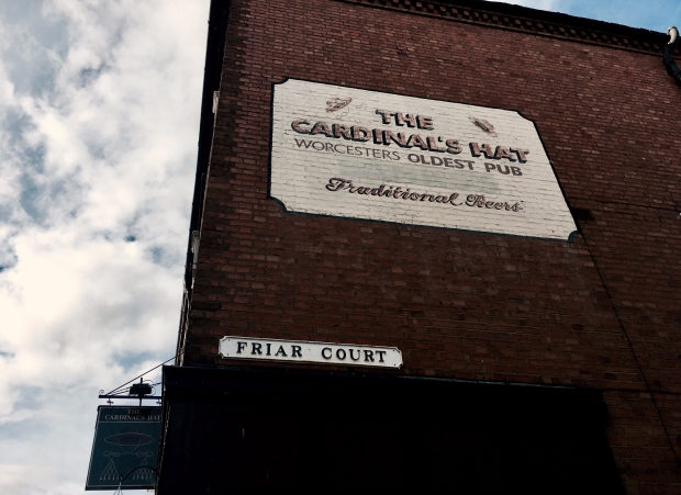 Exterior wall to Worcester pub, 'The Cardinal's Hat'.