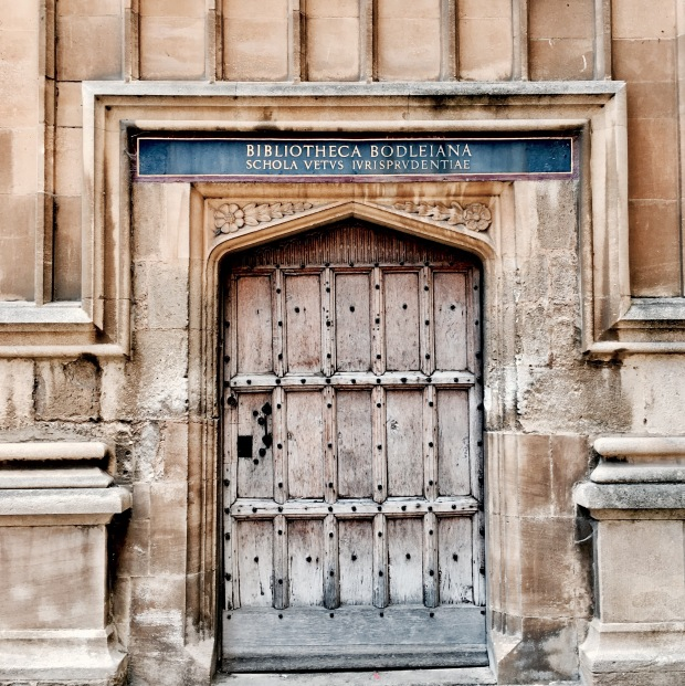 Door in the Bodleian Library Quadrangle, Oxford, England.