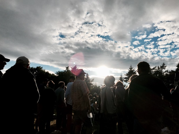 The sun emerging after a shower of rain at West Fest, Malvern, Worcestershire.