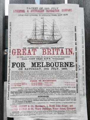Historic advertisement for SS Great Britain at Bristol Harbour.