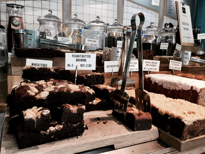 Cakes on display at Mokoko Cafe, Wapping Wharf, Bristol.