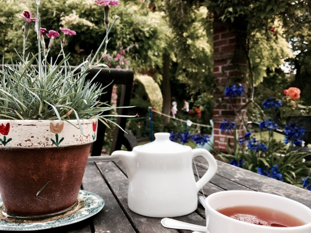 Cream tea in the garden at National Trust property, Greyfriars' in Worcester, Worcestershire.