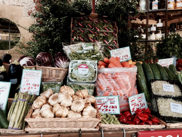 Market stall at Broadway Deli in Broadway, Worcestershire, England.