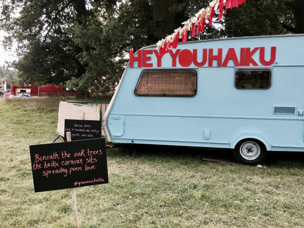 Haiku caravan at the Green Man festival in Wales.