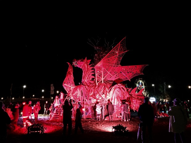 The red dragon at the Green Man festival in Wales.