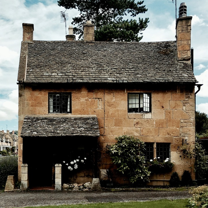 Stone cottage in Broadway, Worcestershire, England.