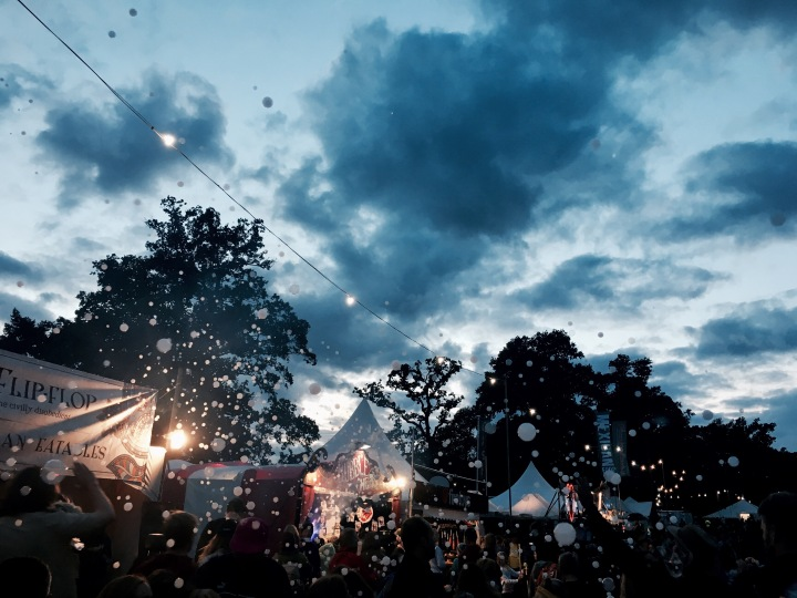Bubbles in the sky at the Green Man festival in Wales.