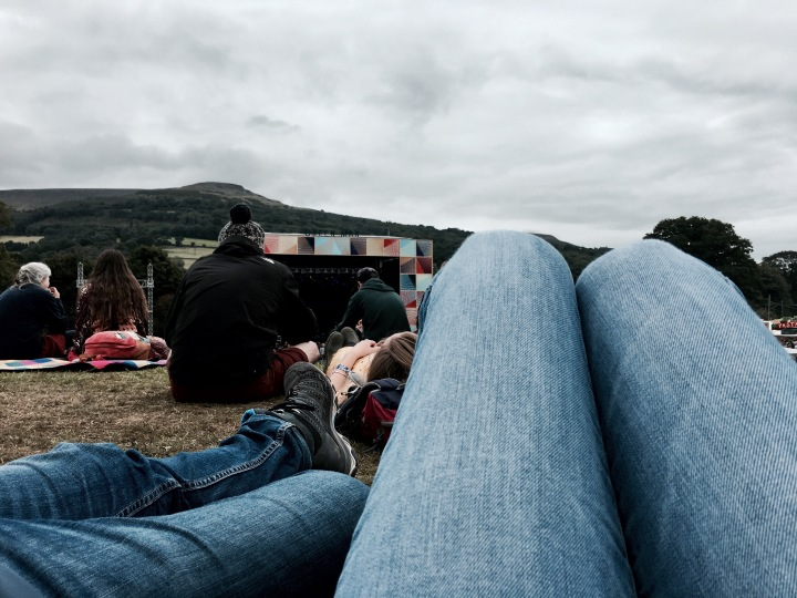 People watching the Mountain Stage at the Green Man festival in Wales.