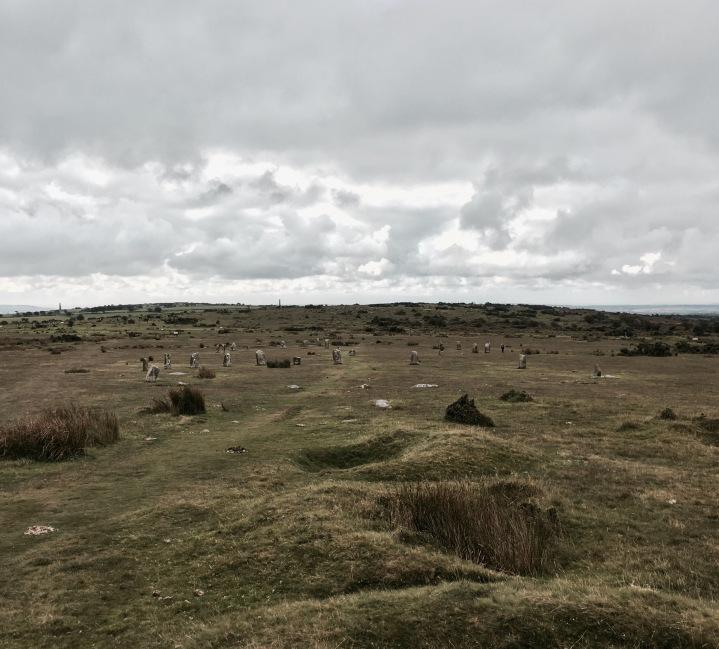 The Hurlers stone circle, Bodmin Moor, Cornwall, England.