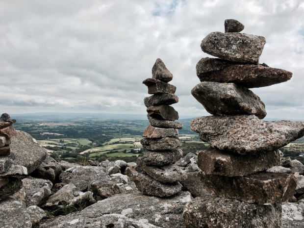 Stone cairns at the top of Stowe's Hill, Bodmin Moor, Cornwall, England.