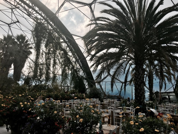 The Med Terrace restaurant at the Eden Project in Cornwall, England.