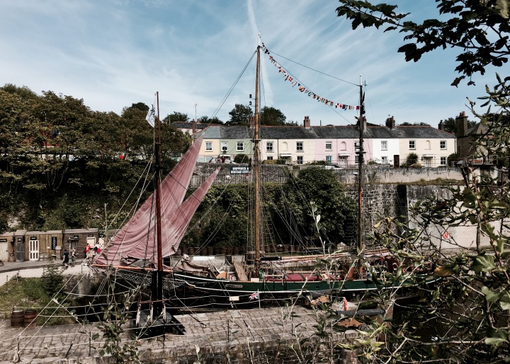 Old ships in the harbour at Charlestown, Cornwall, England.