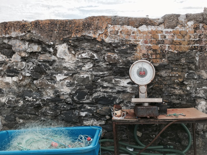 Scales and fishing equipment at Charlestown Harbour, Cornwall, England.