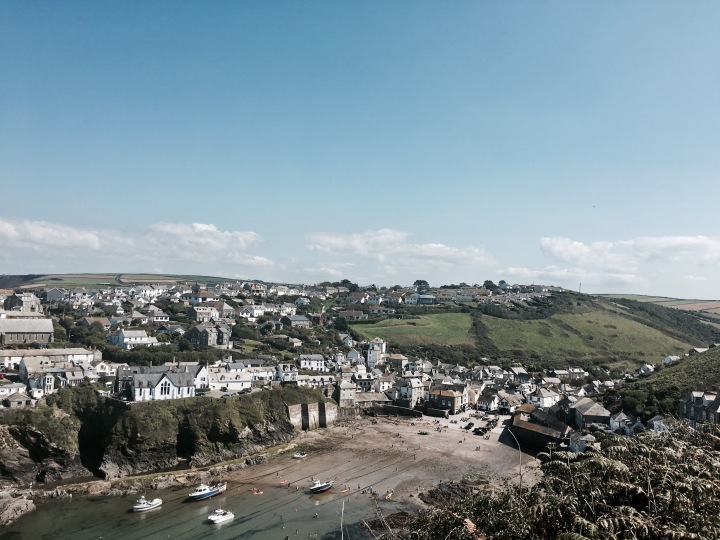 View from South West Coast Path of Port Isaac in Cornwall, England.