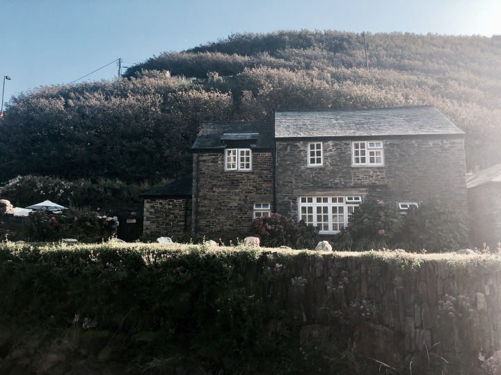Stone cottage in the village of Boscastle, Cornwall, England.