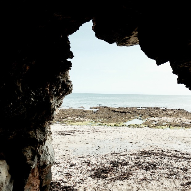 A cave on the beach at Charlestown, Cornwall, England.