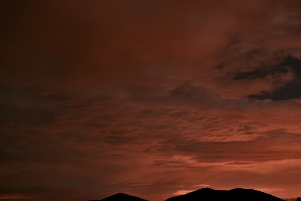 A red night sky over the Malvern Hills in Worcestershire, England.