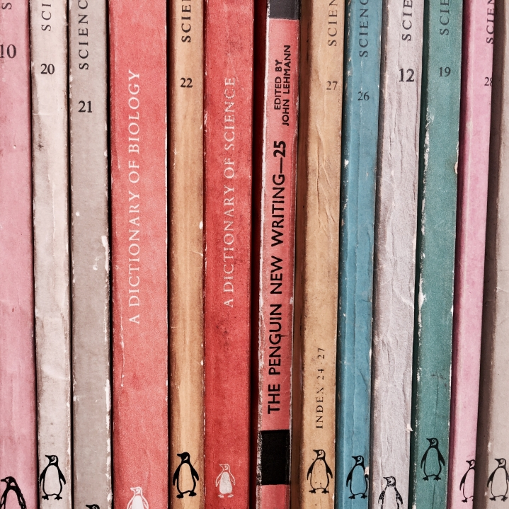 The spines of Penguin books sitting on a shelf in Hay-on-Wye in Wales.