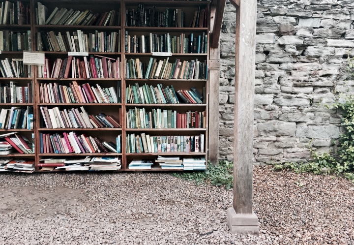 The honesty book shop at the Hay Castle, Hay-on-Wye, Wales.