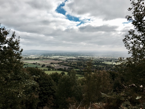 Looking over the village of Welland and towards the Cotswold escarpment from the Malvern Hills in Worcestershire, England.