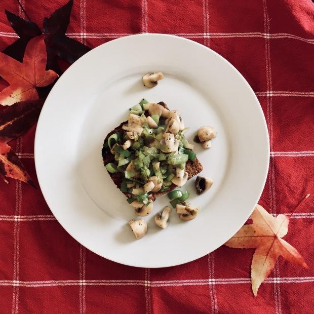 Sauted leeks and mushrooms on toast.