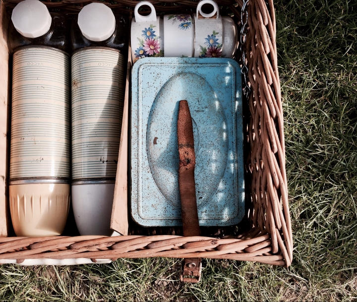 Vintage picnic basket for sale at a flea fair in Malvern, Worcestershire, England.