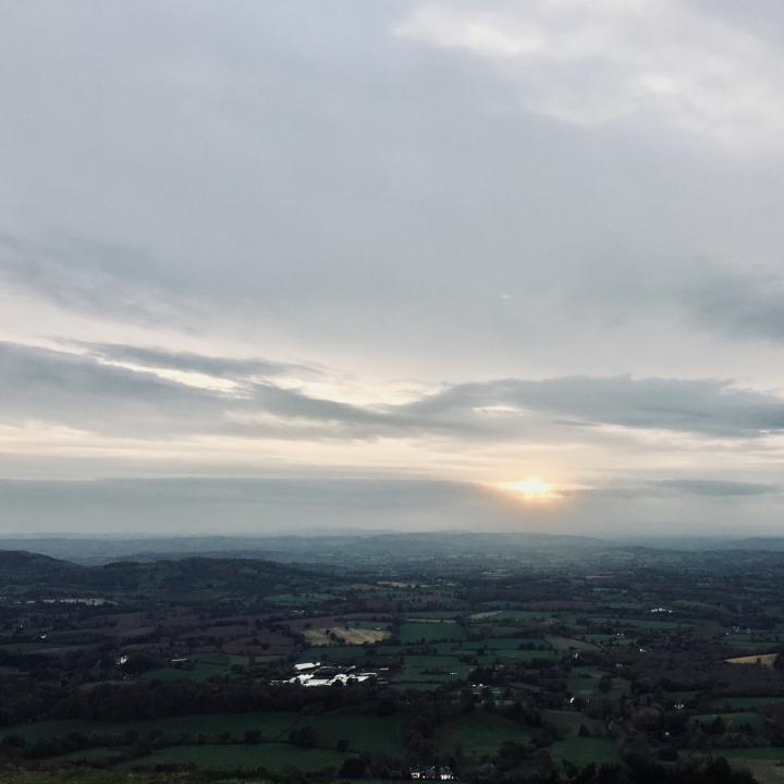 Autumn sunset from the Worcestershire Beacon on the Malvern Hills in England.