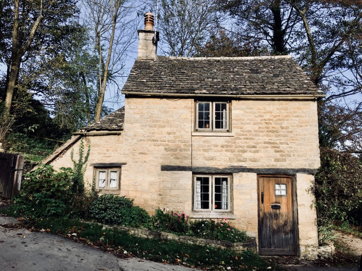 Two storey cottage opposite Arlington Row, Bibury, Gloucestershire.