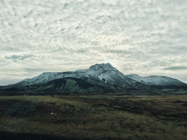 Snow covered mountain between Keflavik and Reykjavik, Iceland.