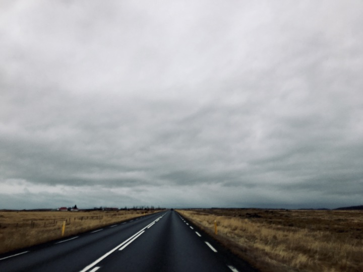 Deserted road in southern Iceland.