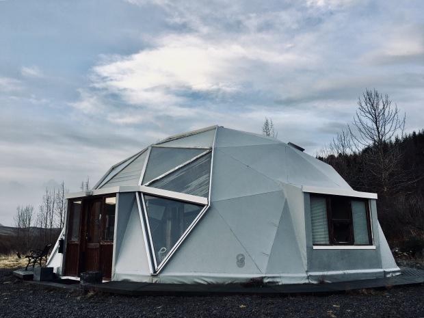 Geodesic dome cabin near Húnavatnshreppur, Iceland.