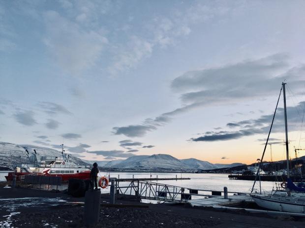 Akureyri harbour, Iceland, at sunset in November.
