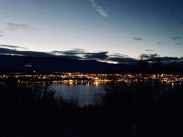 Akureyri, Iceland at night.