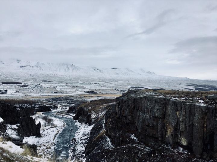 Snowy mountains near Akureyri, Iceland.