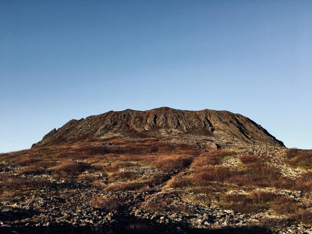 The Eldborg Crater, Snowstorm on the Snæfellsnes Peninsula, Iceland.