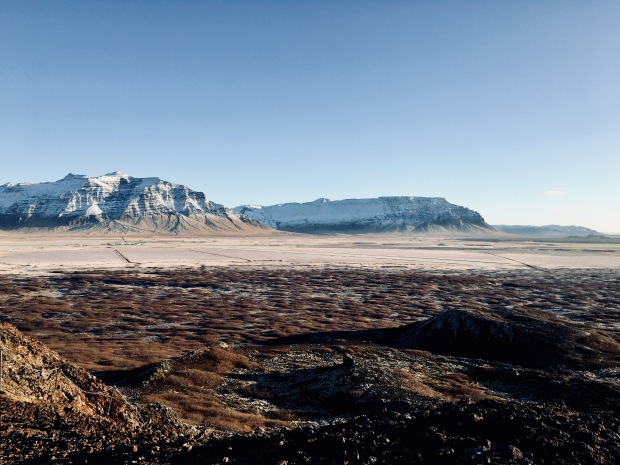 View from the Eldborg Crater on the Snæfellsnes Peninsula, Iceland.