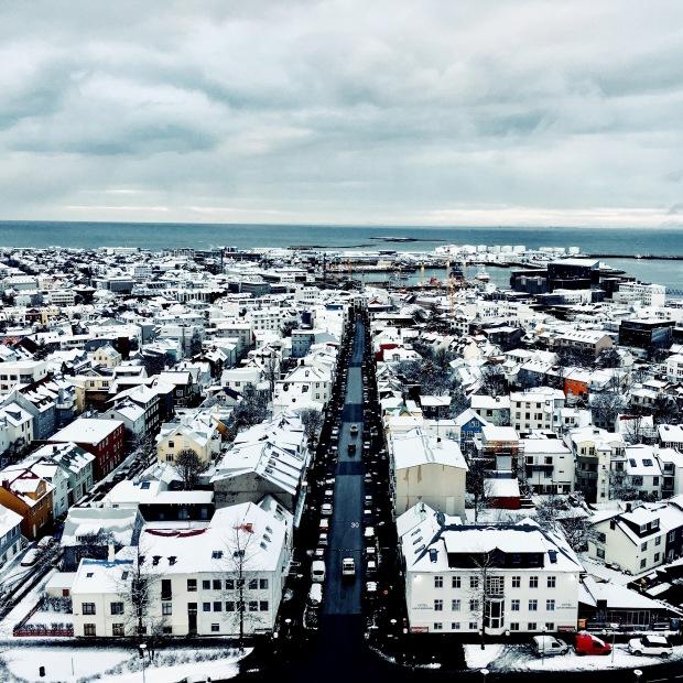 View of downtown Reykjavik from the Hallgrímskirkja church.