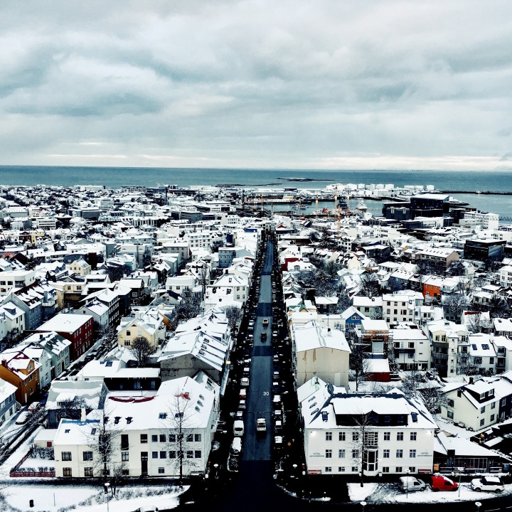 View of downtown Reykjavik from the Hallgrímskirkja church.