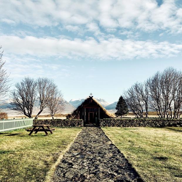 Grass roofed church near Varmahlíð, Iceland.