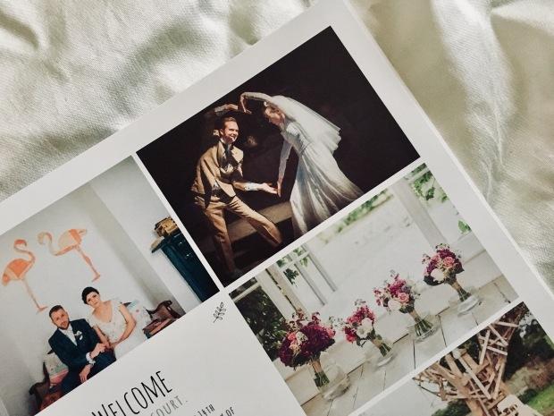 Wedding brochure laying on ivory sheet
