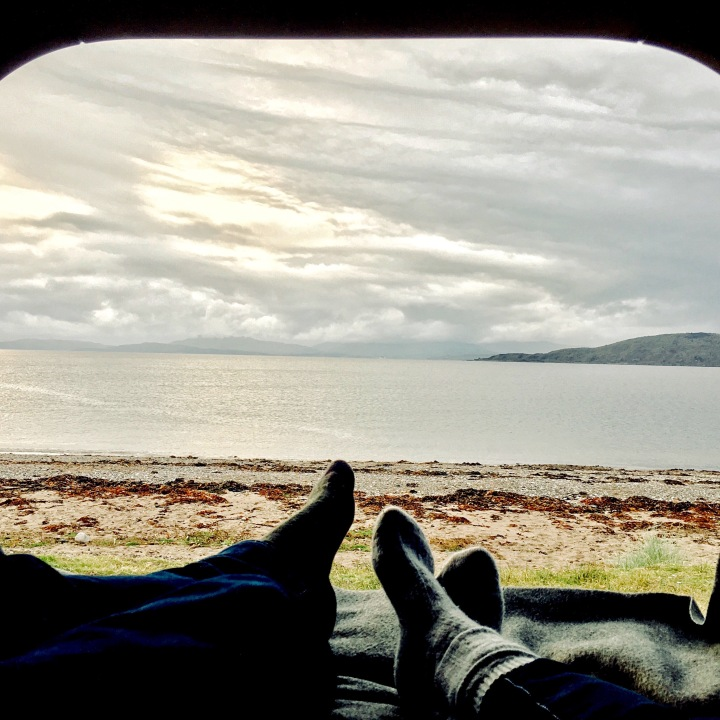 Camping out on the shores of Ardmucknish Bay, Scotland.