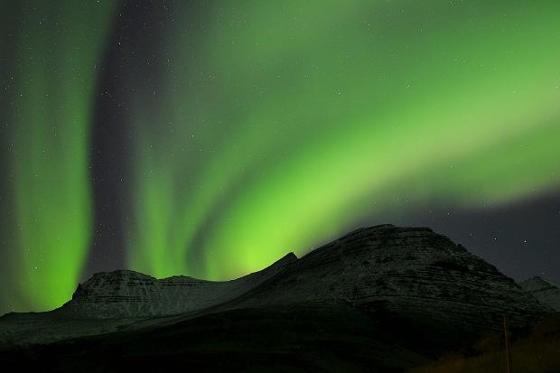 The northern lights on the Snæfellsnes Peninsula, Iceland.