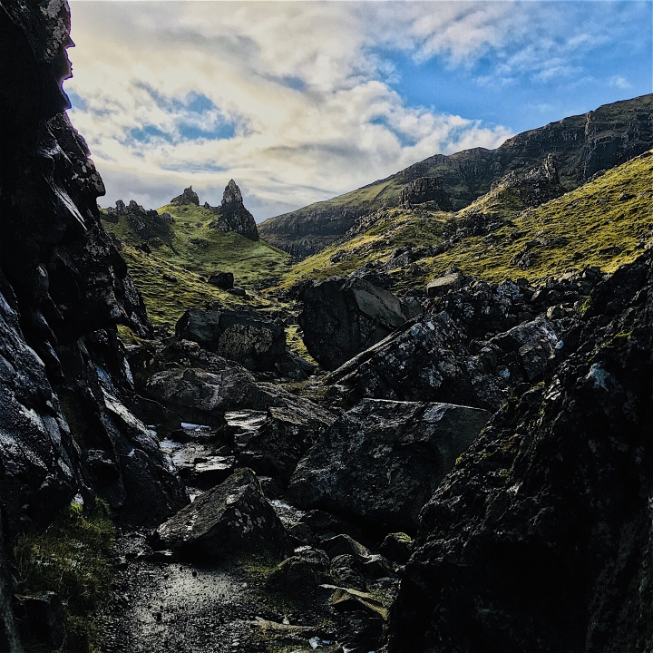 Exploring between the peaks near the Old Man of Storr, Isle of Skye, Scotland.