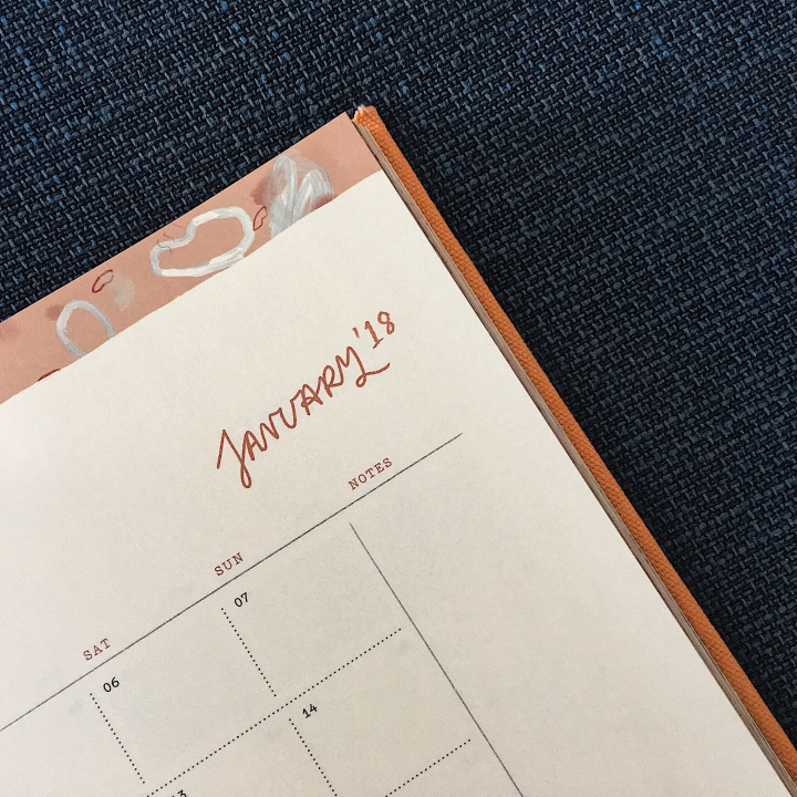 Diary showing January 2018.