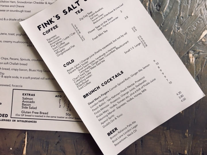 Menu for Fink's Salt and Sweet, London.