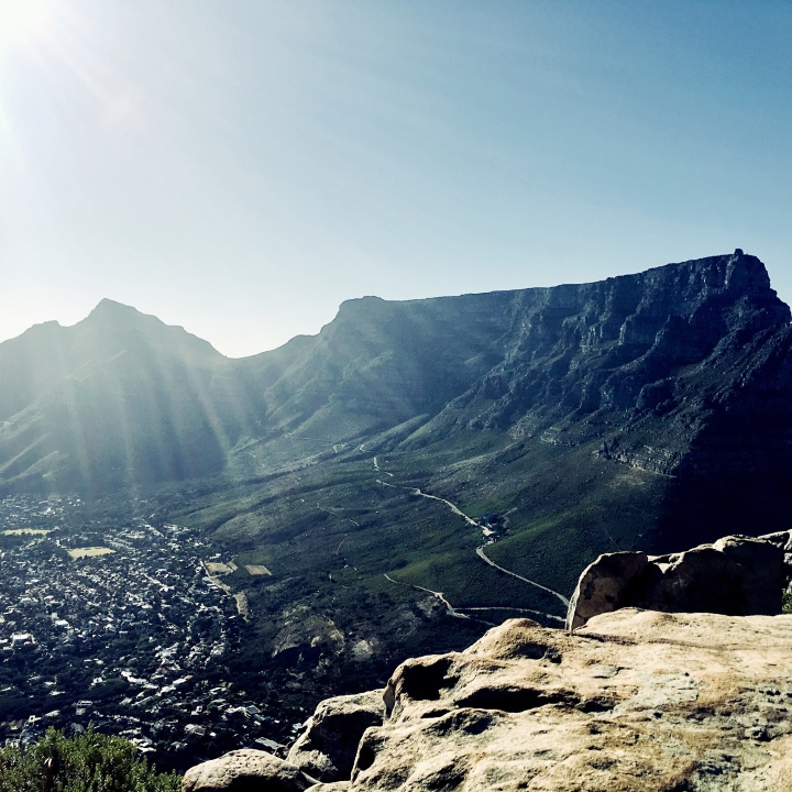 Looking towards Table Mountain from Lion's Head, near Cape Town, South Africa.