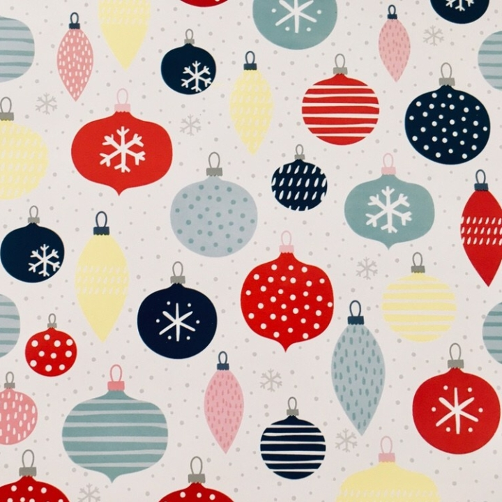 Christmas wrapping paper featuring a bauble print.